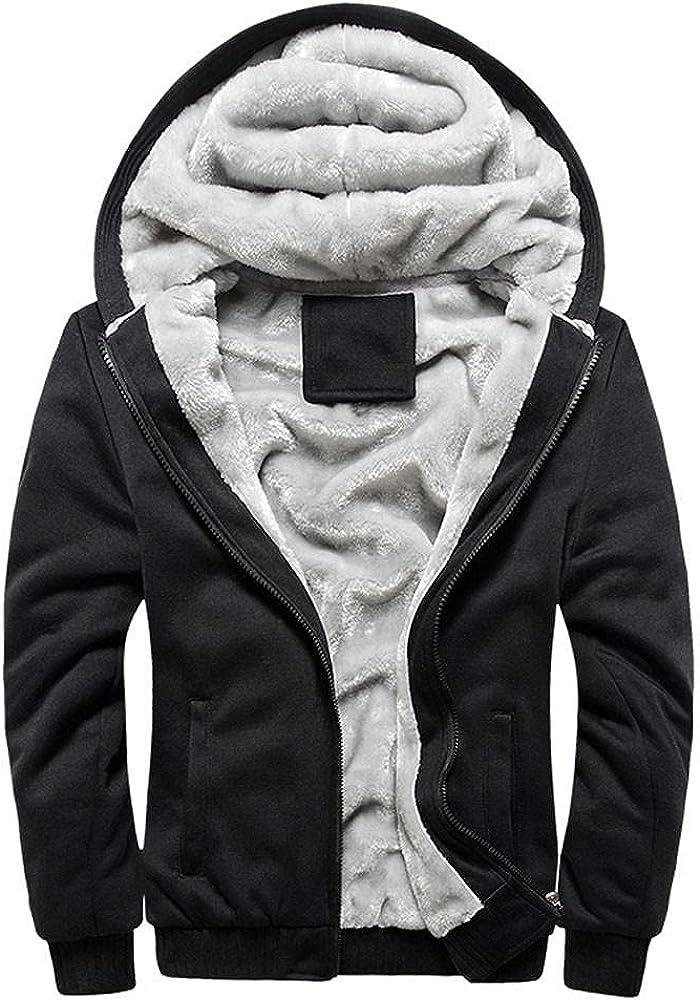PHSHY Mens Fashion Hoodies Fleece Sherpa Lined Full Zip Up Sweatshirts Winter Warm Long Sleeve Oversized Jacket Coats