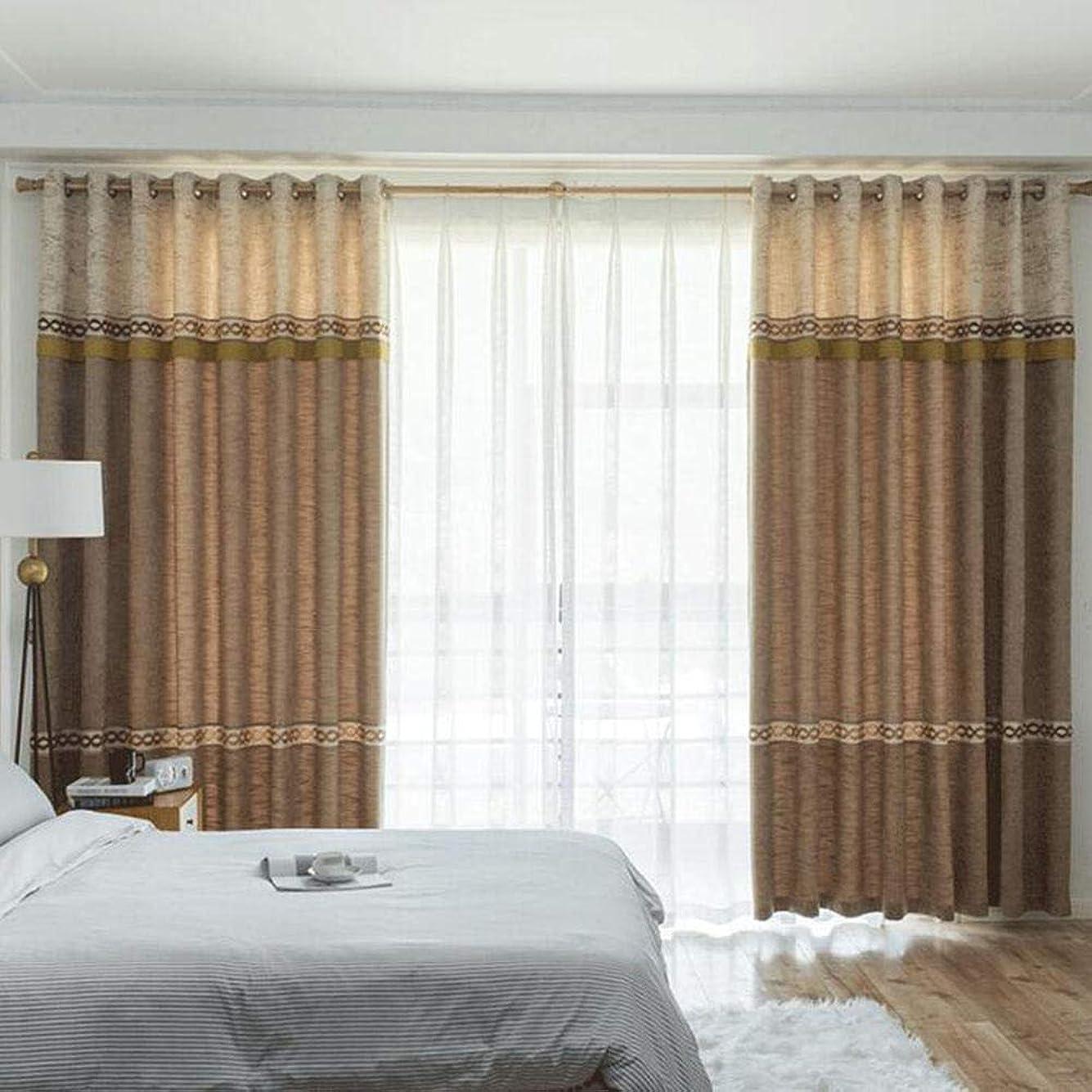 湿った台無しにストラトフォードオンエイボン遮光カーテンリビングルーム断熱フルサンシェード寝室のカーテンモダンカーテン2個@ブラウン_300x270cm(WxH)x2