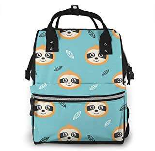 Baby Sloths Leaves Multi-Function Travel Backpack Nappy Bag,Fashion Mummy Bag
