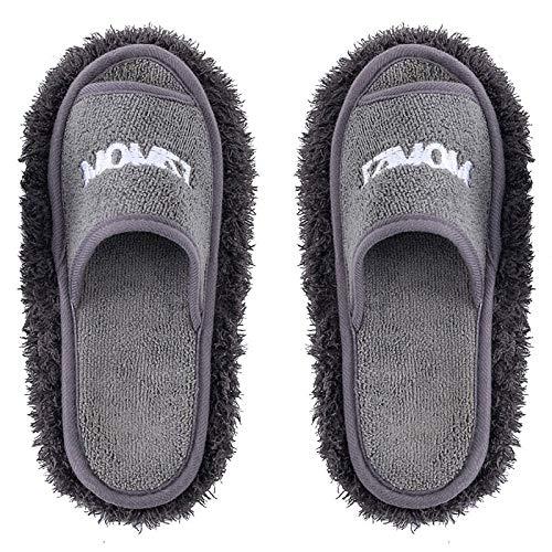 Zapatillas Casa Hombre Mujer Zapatillas De Mujer, Zapatillas Desmontables Y Lavables para El Suelo, Limpieza De Microfibra para El Hogar, Toallitas para Limpiar El Polvo, Zapatillas para Mujer-Gr