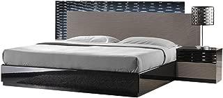 J&M Furniture Roma Black & Grey Lacquer with Unique Wave Design Queen Size Bedroom Set