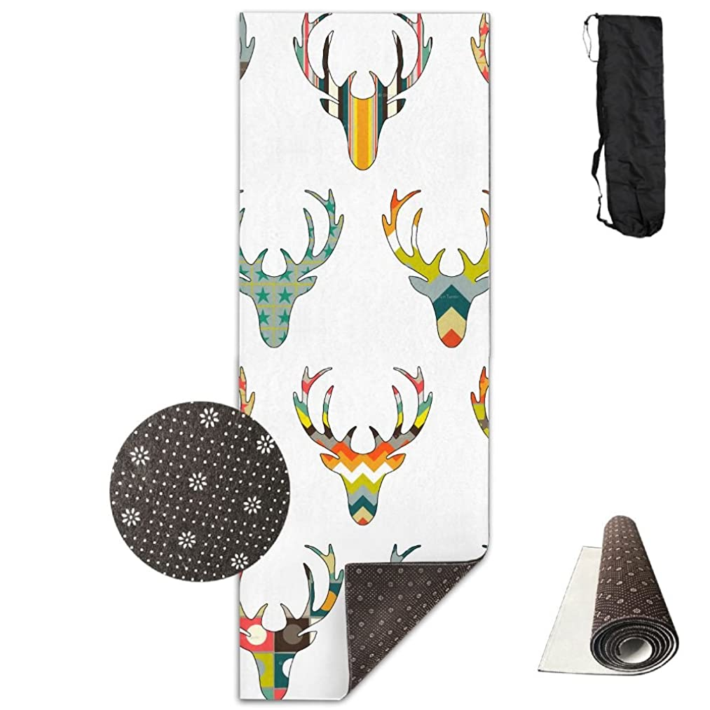 Gorgeously Non Slip Yoga Mat Abstract Deer Premium Printed 24 X 71 Inches Great For Exercise Pilates Gymnastics Carrying Strap