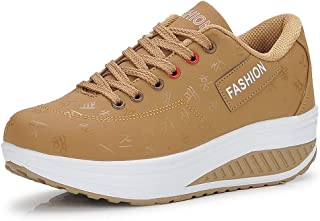 Ladies Wedge Platform Sneaker Casual Athletic Shoes Leather Breathable Loafers Lace up Walking Shoes Fitness Shake Shoes Height-Increasing Trainers
