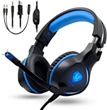 Pro Stereo Gaming Headset Compatible with Xbox One S, Xbox One X, PS4, PS4 Pro/Slim, Nintendo 3ds, Laptop, Pad and PC, BUTFULAKE 3.5mm Over-Ear Headphones with Flexible Mic, Volume Control, LED