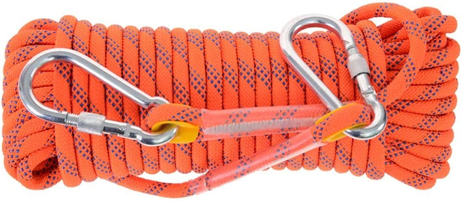 FQCD 10 mm Outdoor Rock Climbing Rope, Fire Escape Safety Parachute Static Rope, High Altitude, Outdoor, Mountaineering Rope, Lifeline Wear, Downhill Nylon,orange