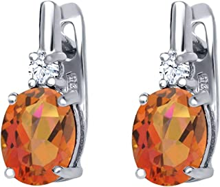 Gem Stone King 4.76 Ct Twilight Orange Mystic Quartz White Topaz 925 Sterling Silver Earrings