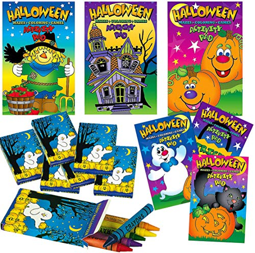 4E's Novelty 24 Pc Halloween Coloring Activity Book & Halloween Crayons (12 of Each) Great Crafts for Kids, Party Favors, Goodie Bag Fillers, Halloween Games Prizes (24 Pc Set)