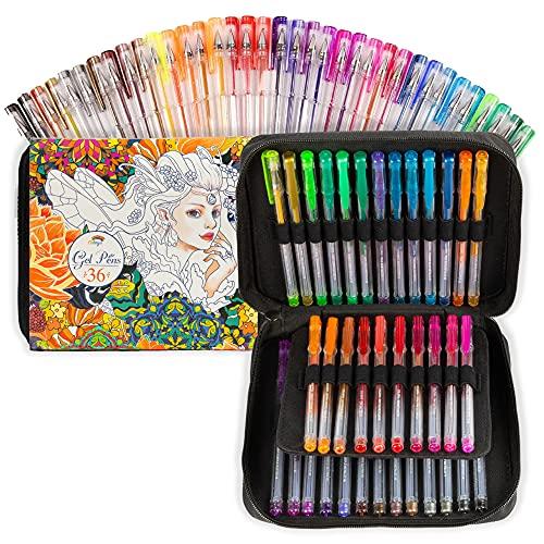 Bolígrafos gel - 36 bolígrafos bonitos + estuche transportable de Colorya, perfectos para colorear libros para adultos y niños - 19 boligrafos de colores con purpurina y 17 colores metálicos