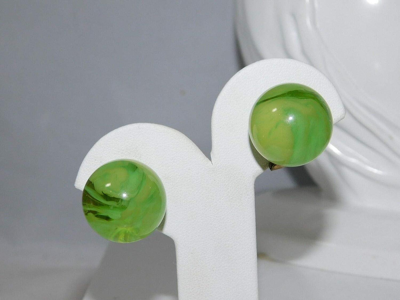 Huge Green Swirled Lucite Marble Ball Stud Clip on Earrings 3i 48 ES-3781