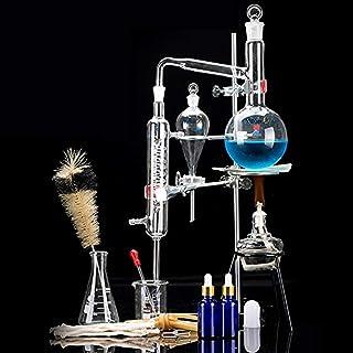 خانه تقطیر خانگی برای ساخت روغن ضروری خود، Moonshine، 3.3 آزمایشگاه شیمی دیملر Boro Alcohol Distiller Lab Glassware Kit، شیشه تقطیر، تقطیر Apparat 15pcs set، 500 ML