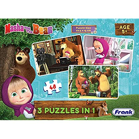 Frank Masha and The Bear 3 in 1 Puzzle for 5 Year Old Kids and Above