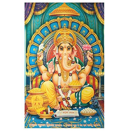 XL Poster Ganesha 145 x 95 cm blau türkis Gottheit Hinduismus Kunstdruck Religion Spiritualität Dekoration Indien