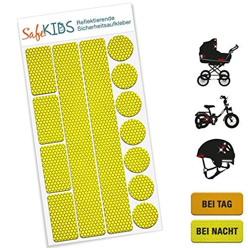 Motoking SafeKIDS Leuchtaufkleber, GELB, 13 Stück für Kinderwagen Fahrrad Helm und mehr