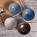 Juego de 4 cuencos japoneses tradicionales de cerámica de porcelana con caja de regalo, juego de vajilla de 11,4 cm, 300 ml para hornear, cocinar y servir