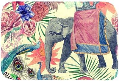 EGGDIOQ Doormats Indian Style Pattern with Elephant Custom Print Bathroom Mat Waterproof Fabric Kitchen Entrance Rug, 23.6 x 15.7in