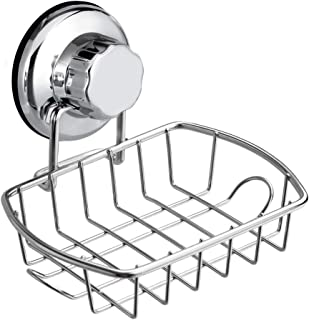 SANNO Suction Soap Dish Holder with Hook, Soap Saver Soap Holder Soap Tray Bar Soap Sponge Holder for Shower, Bathroom, Tu...