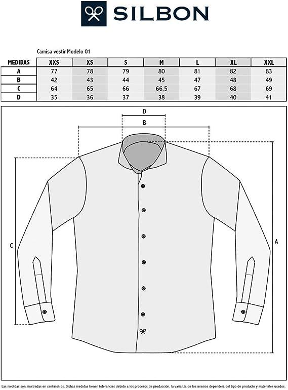 SILBON - Camisa Vestir Raya azulona Cuello Blanco para Hombre ...