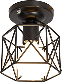 Semi-Flush Mount Ceiling Light,Retro Vintage Industrial Painting Metal Cage Shade Pendant Light Ceiling Light Fixture for Hallway Stairway Bedroom Kitchen, Black.