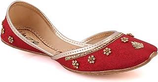 Unze Womens 'Hankis' Stylish Wedding Flat Leather Indian Khussa UK Size 3-8 - UN-02