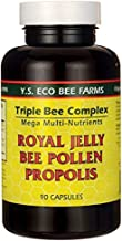 Y.S. Organic Triple Bee Complex -- 90 Capsules / Royal Jelly, Propolis, Bee Pollen (Pack of 2)
