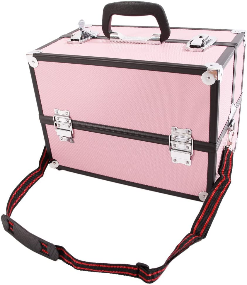 N7 Aluminum Alloy Makeup Train Jewelry Box Case High material Organizer Pink Special sale item