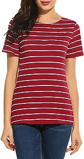 SimpleFun Women's Summer Stripped Tops Blouse Casual Raglan Tees T Shirts