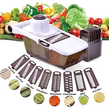 Fromage Hachoir L/égumes avec R/éservoir pour Carotte Concombre Machine D/écoupe Multifonction Pomme Terre Tomate Ritte 7 en 1 Multifonction Trancheuse Mandoline