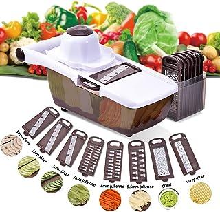 Comaie Mandoline Trancheuse Cuisine Multifonction 8 en 1 Professionnelle Couper les Legumes Fruits Interchangeable épluche...