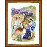 Riolis–Kit de Punto de Cruz Lila Flor Set, algodón, Multicolor, 30x 40x 0.1cm