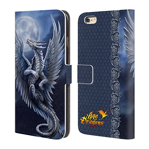 Head Case Designs Oficial Anne Stokes Plata Edad de los Dragones Carcasa de Cuero Tipo Libro Compatible con Apple iPhone 6 Plus/iPhone 6s Plus