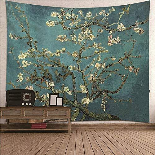 giyiohok Tapiz de pared con flores de ciruelo y paisaje para colgar en la pared, decoración para dormitorio o sala de estar, tapiz de 210 x 140 cm, 210 x 140 cm