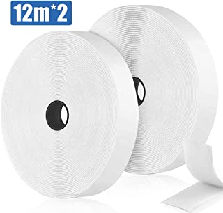 12M Velcr Adhesivo Doble Cara, Belcro Adhesivo Fuerte, Velcr Autoadhesiva de Velcr Adhesivo Cinta 20mm de Ancho (12M Blanco)