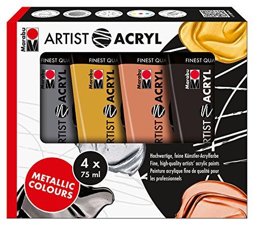 Marabu 1220000000089 - Artist Acryl Sortierung Metallicfarbe, feine Acrylfarbe in Künstlerqualität, auf Wasserbasis, pastose Konsistenz, hoch pigmentiert, sehr gute Brillanz und Deckkraft, 4 x 75 ml