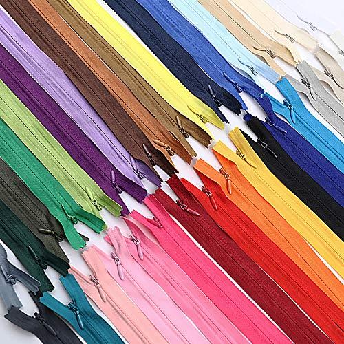 JUHONNZ Cremalleras Invisibles,32 PCS Cremallera de Colores Cremalleras de Nailon Cremalleras de Costura Cremalleras de Metal...
