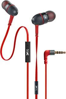 boAt BassHeads 225 in-Ear Wired Earphones with Super Extra Bass, Metallic Finish, Tangle-Free Cable and Gold Plated Angled Jack (Red)