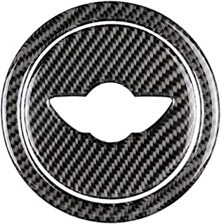 znwiem Car Steering Wheel Decorative Frame Trim for Mini Cooper Clubman R55 R56 R60 R61 Carbon Fiber Auto Interior Sticker