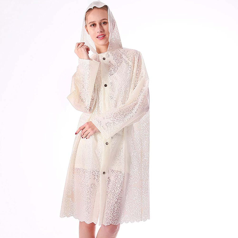 Adult Raincoatwomen Long Lace Translucentlarge Size Raincoat Poncho