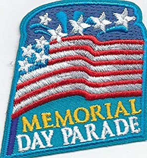 2Pcs Girl Boy cub Memorial Day Parade Celebration Flag Patches Badges Scouts Guides