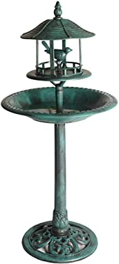 1. GO 48 Inch Height Polyresin Lightweight Antique Outdoor Garden Bird Bath, Green