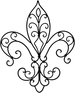 Upper Deck Wrought Iron Open Work Fleur de Lis Wall Hanging