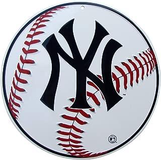 TG LLC NY Yankees Logo Round Baseball Metal Sign Man Cave Game Room Bar Pub Wall Decor