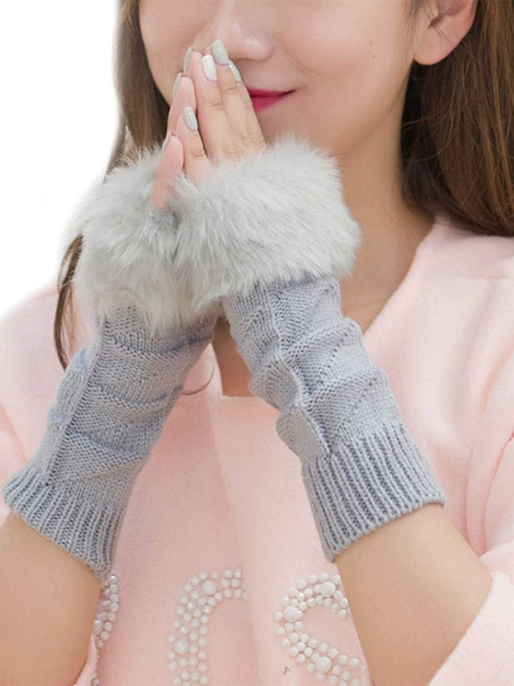 Simsly Womens Winter Faux Fur Gloves Knit Wrist Warmer Fingerless Mittens Thumb Hole Gloves for Winter (Light gray)