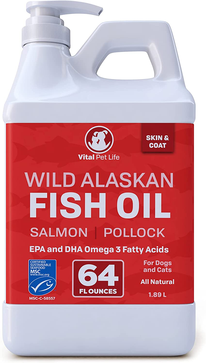 Fish Oil for Dogs, Wild Alaskan, Salmon, Pollock, Omega 3 EPA DHA Liquid Food Supplement for Pets, All Natural, Supports Healthy Skin Coat & Joints, Natural Allergy & Inflammation Defense, 64 oz