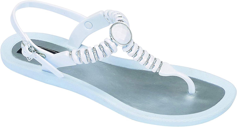 Grandco Women's Pebble T-Strap Beaded Flip Flop Sandals 28522