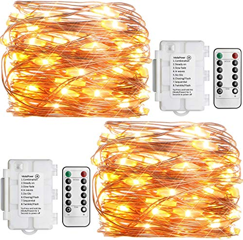 Koopower 2 Pack Outdoor String Lights 16ft 50 LEDs Battery Operated Fairy Lights...
