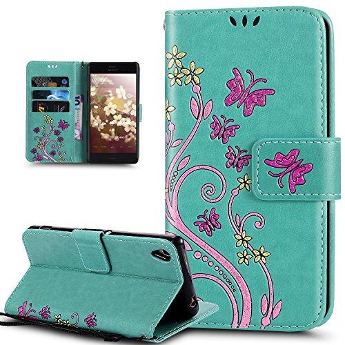Kompatibel mit Sony Xperia Z3 Hülle,Sony Xperia Z3 Schutzhülle,Bunte Gemalt Prägung Schmetterlings Blumen PU Lederhülle Flip Hülle Cover Ständer Wallet Tasche Hülle Schutzhülle für Sony Xperia Z3,Grün