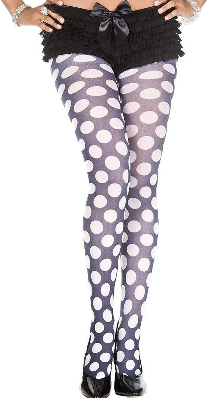Quenny White circle print pantyhose.
