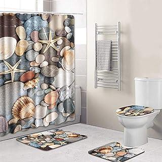 4pcs/set Conch/Starfish Printed Pattern Water-resistant Shower Curtain Pedestal Rug Lid Toilet Cover Mat Non-slip Bath Mat...
