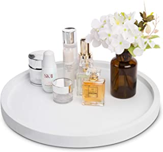 MyGift 16-inch White Round Concrete Vanity Tray for Jewelry, Toiletries and Candles