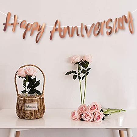 AMFIN® Happy Anniversary Bunting Banner Set for Decoration / Anniversary Decorations for Home / Happy Anniversary Decoration Items - Rose Gold